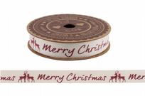 Red Stag Merry Christmas 5m Cotton Ribbon